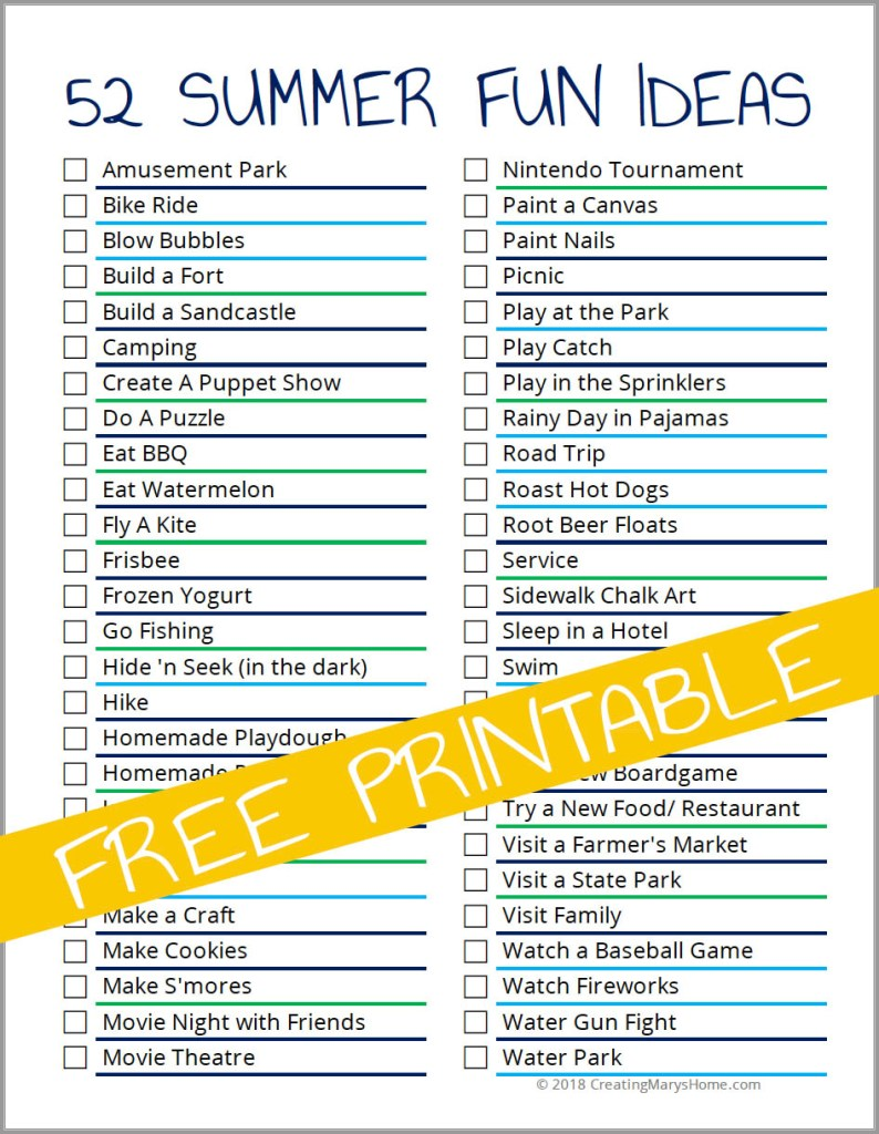 Summer Fun Calendar Bucket List Ideas Creatingmaryshome Com