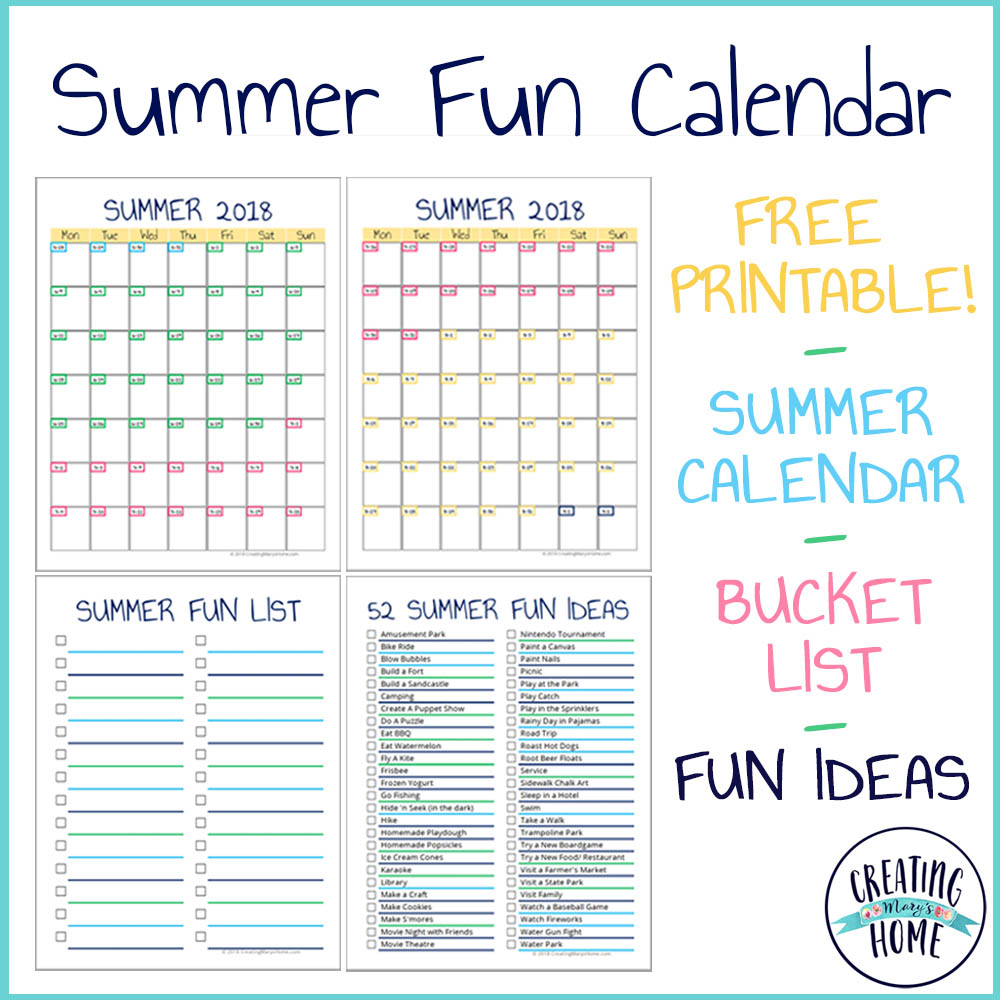 summer fun calendar bucket list ideas
