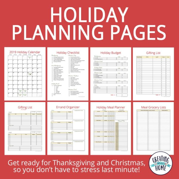 Holiday Planning Pages – FREE Printable