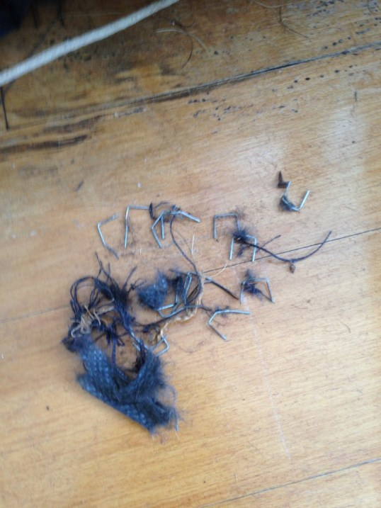 removing staples from an old chair