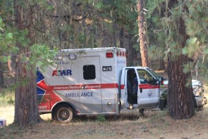AMR ambulance crew from Northern Oregon stood ready to evacuate any injured Stouts fire crew members.