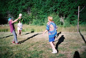 playing volleyball in the field by Snow Creek