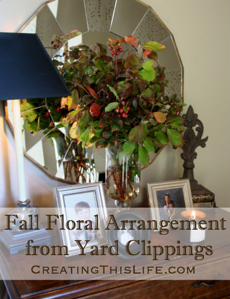 Floral Fall Arrangement from Yard Clippings at CreatingThisLife.com
