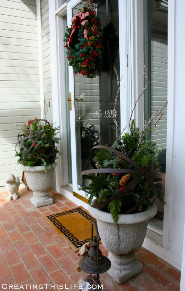 Christmas porch urns wreath