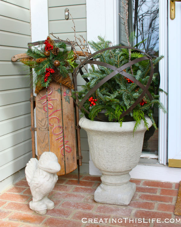 Christmas porch with sled