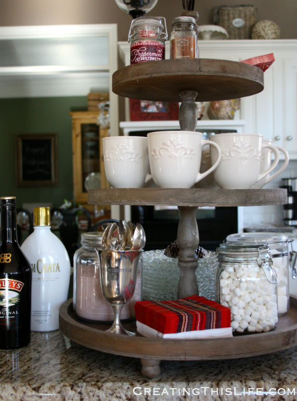hot chocolate tiered tray