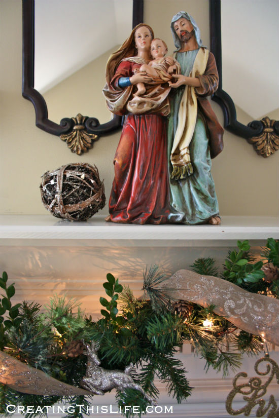Christmas garland with holy family