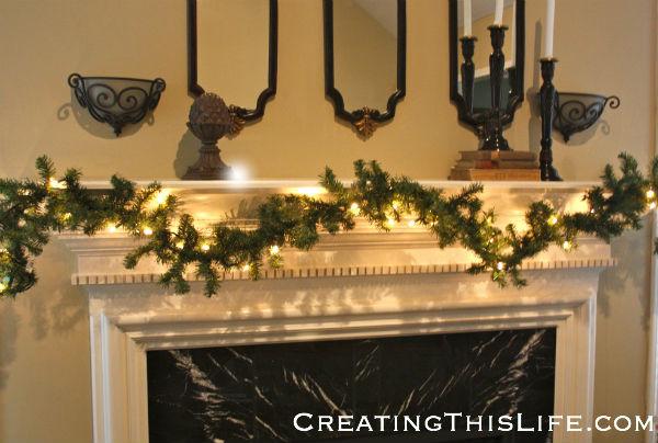 Fireplace garland before