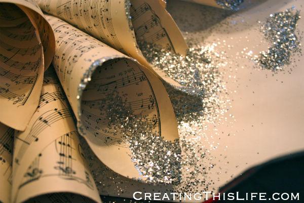 Sheet music wreath glittered edges