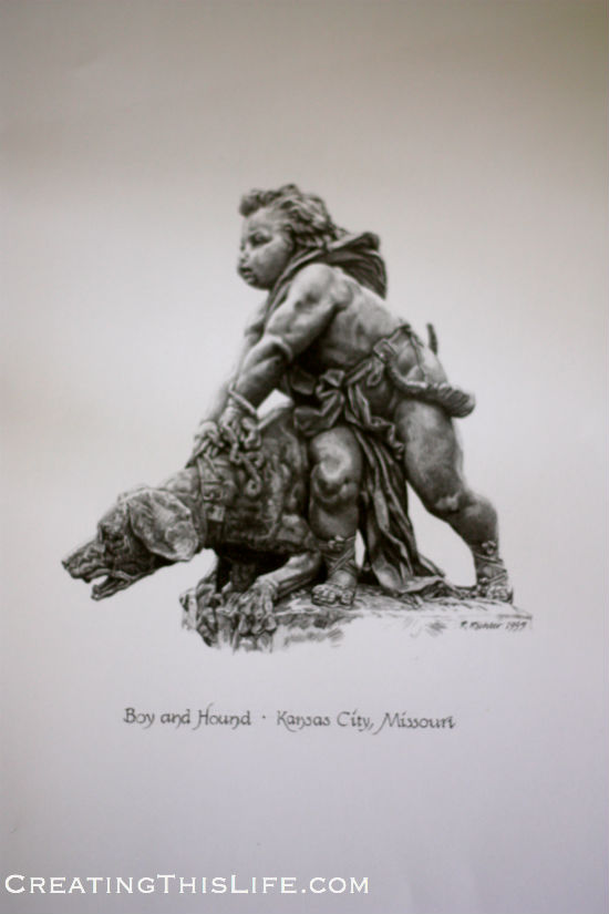 Kansas City Boy and Hound Fountain Sculpture