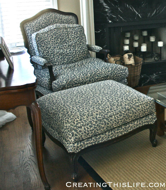 French Bergere chair and ottoman