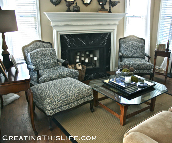 French Bergere chairs and ottoman