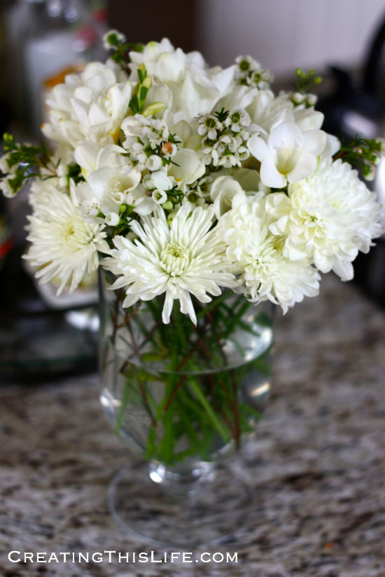 White-mums-freesia-arrangement