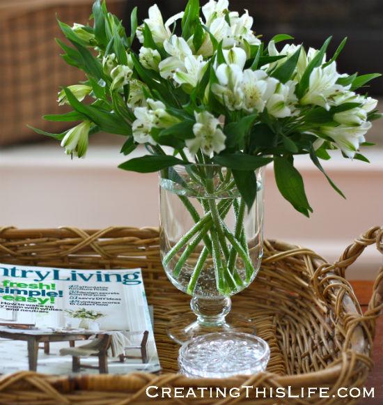 white-alstroemeria-flower-arrangement-wicker-tray
