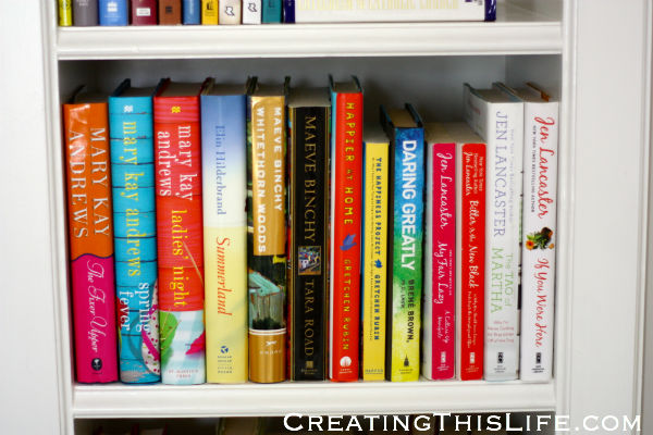 Chick lit book shelf in home office