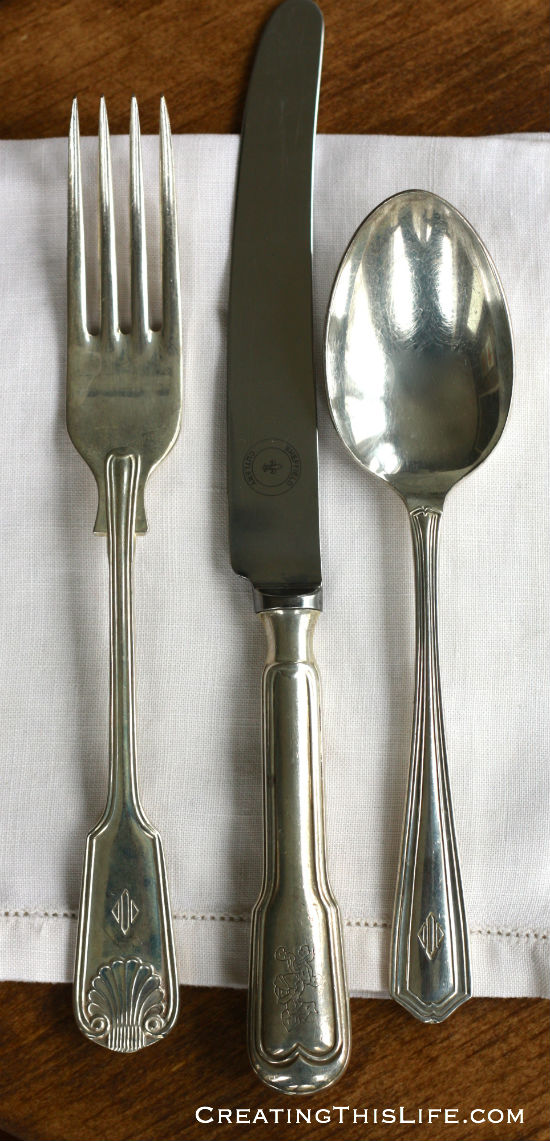 mismatched silverplate placesetting