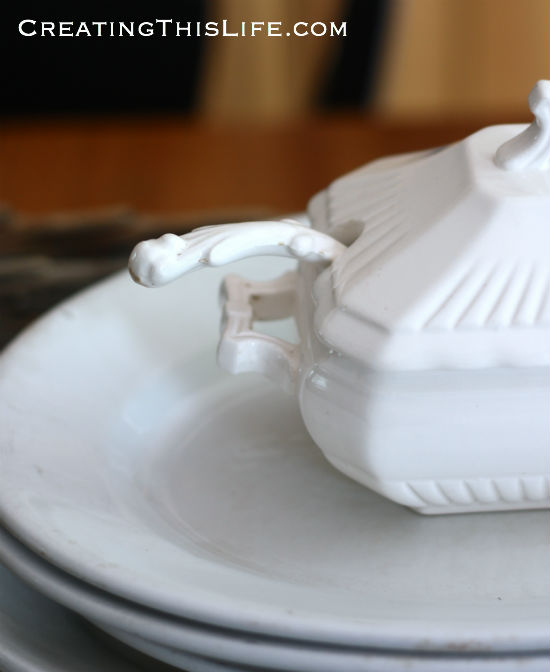 White soup tureen handle detail