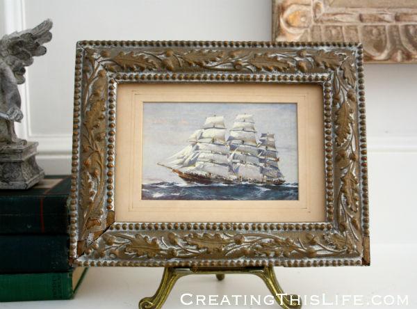 Antique framed ship postcard