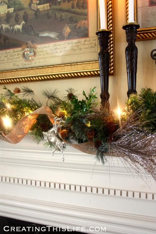 Christmas mantel garland at CreatingThisLife.com