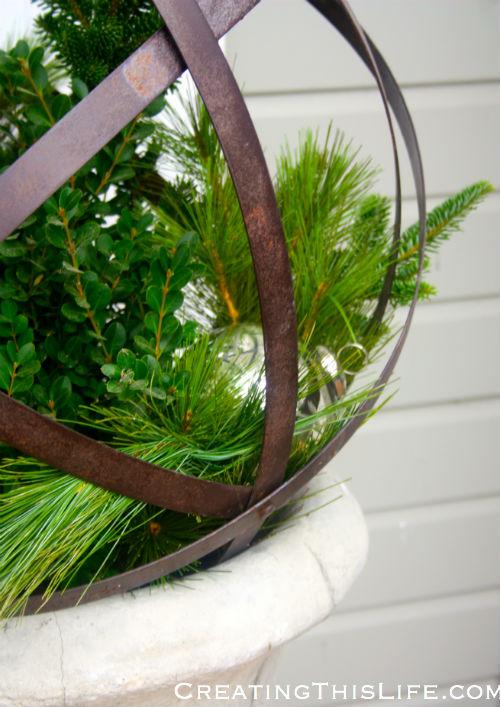 Christmas urn closeup