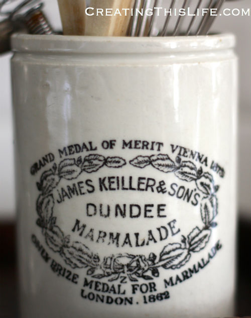 Dundee marmalade jar as utensil holder