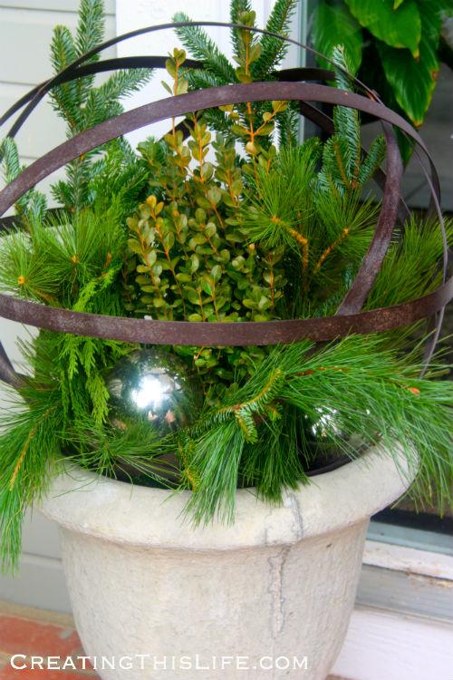 Outdoor Christmas urns