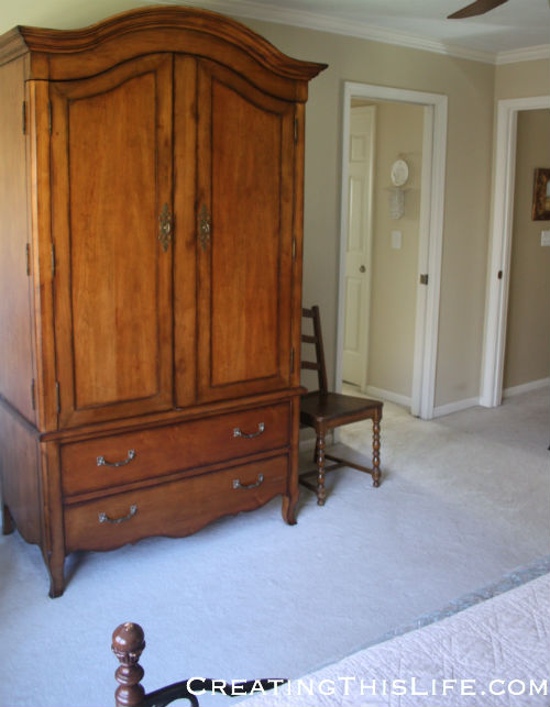 Bedroom armoire at CreatingThisLife.com