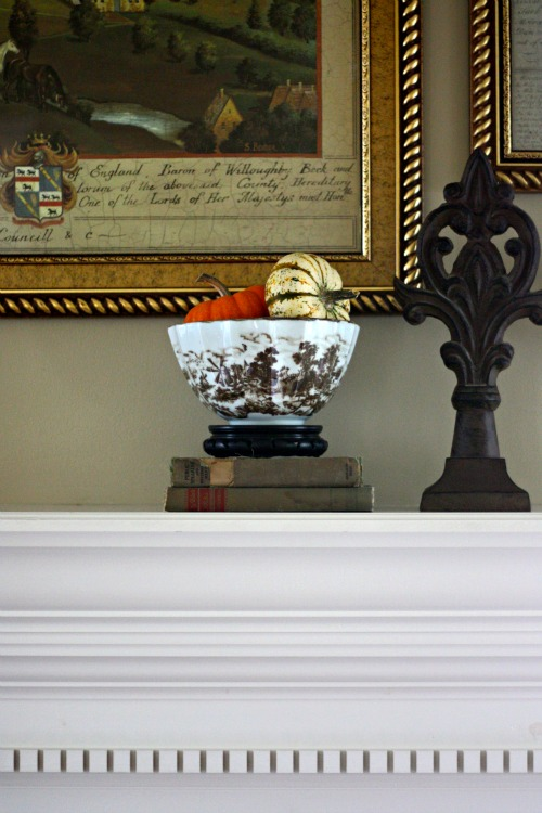 Brown and white toile bowl