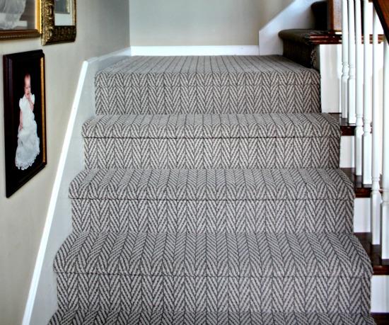herringbone stairway carpet