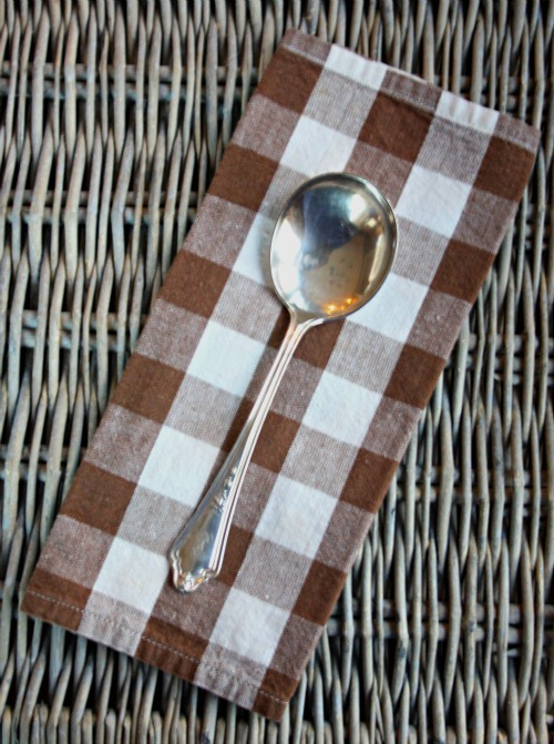 vintage soup spoon buffalo check napkin