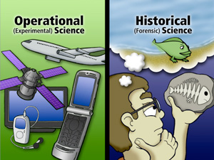Operational science is quite different to origins or historical science; you can't do experiments on the past and interpretations of the data are strongly driven by the world-view of the scientist.