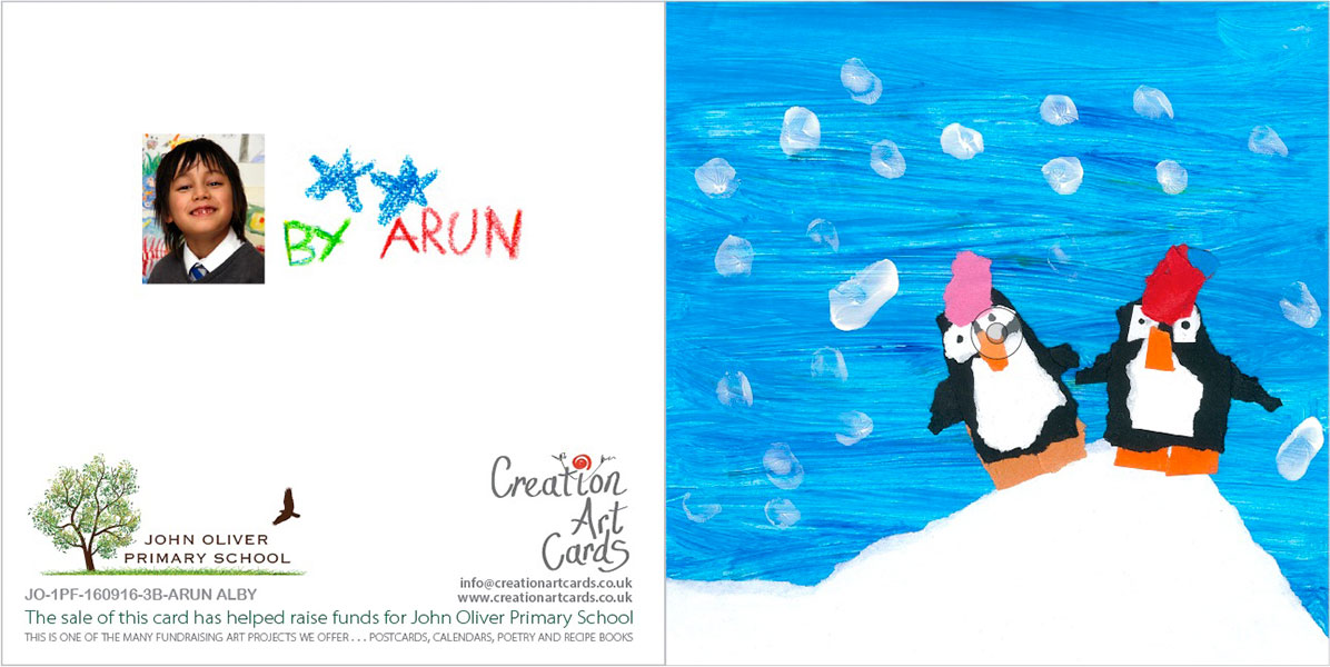 Personalised Art Christmas Cards For Schools Sample Card