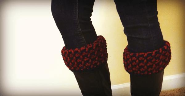 unique wool cowl boot cuffs set