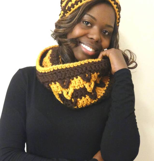wool chunky cowl hat set