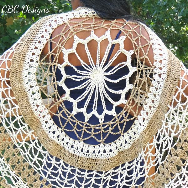 Flower Mandala Circle Poncho Crochet Pattern is an intermediate level design, and made to fit most sizes