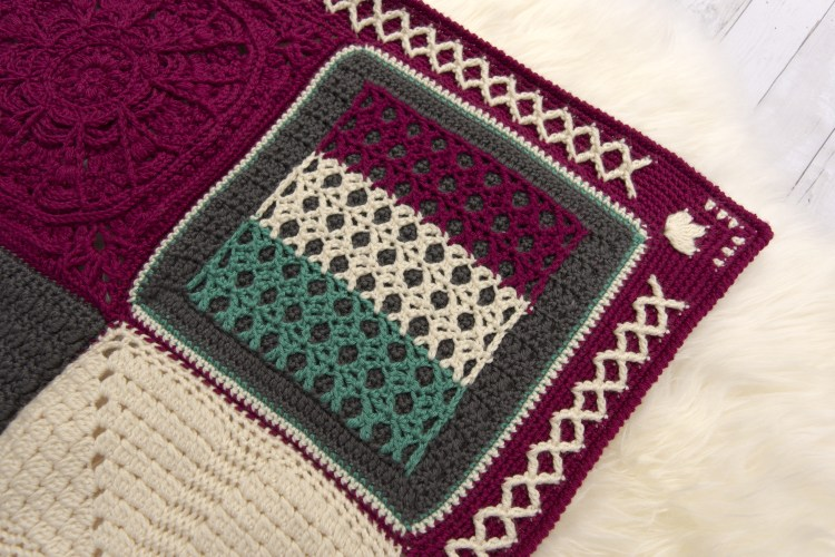 Kisses Square, a free crochet pattern, and part of the Creative Crossing Blanket.