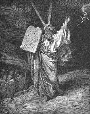 Pen and Ink drawing Moses and 10 Commandments
