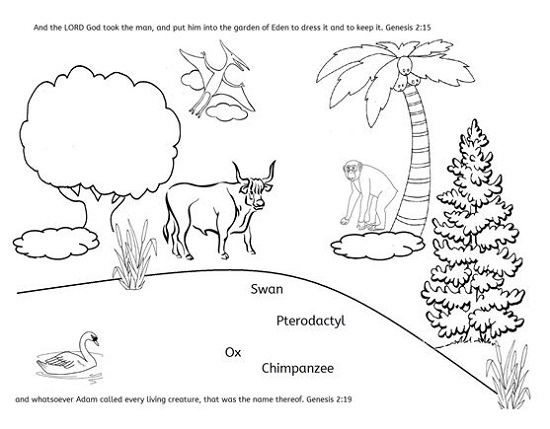 Creation Week 4 Coloring Page: Animals in the Garden