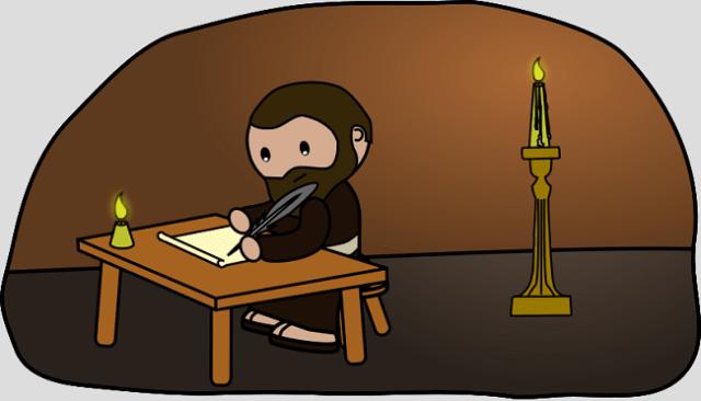 Paul writing by lamplight