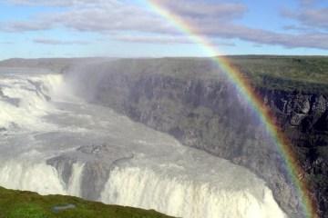 Gullfoss Waterfall, Iceland with Rainbow