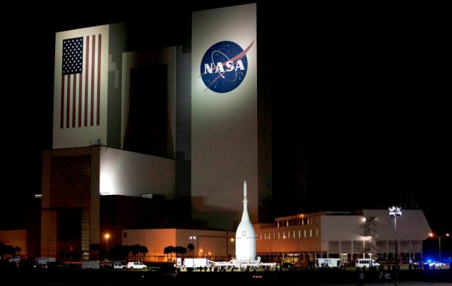 NASA Vehicle Assembly Building by night