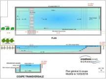 Plan de design piscine débordement 16 m longueur Nouakchott