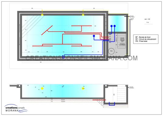 Plan réseaux extérieurs piscine à débordement