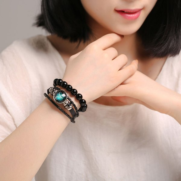 Luminous Signs of the Zodiac Decorated Leather Bracelet 5