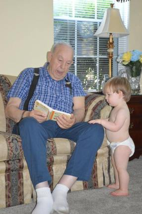 Great Grandpa reading to him <3