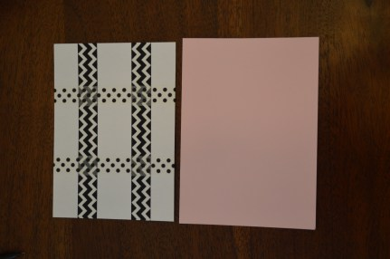 Pink cardstock just a hair larger than the white cardstock