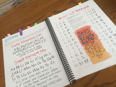 "Photo of the lettering section of ""The Complete Guide To Bible Journaling"""