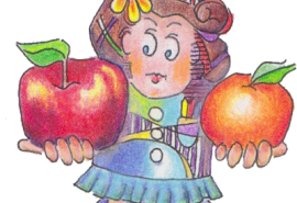 Illustation of a lady holding an apple and an orange