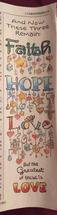 "Jackie's example of her ""Faith, Hope and Love"", Doodle Dangle Word Art"