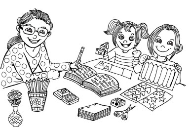 KC kids coloring page 3 girls